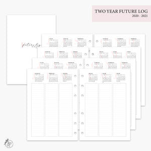 Two Year Future Log Pink 2020/2021 - A5 Rings