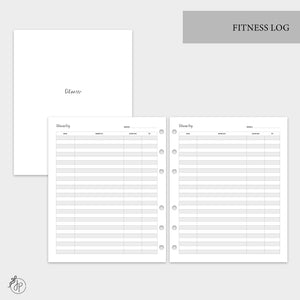 Fitness Log - A5 Wide Rings