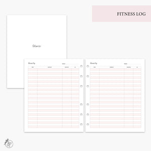 Fitness Log Pink - A5 Wide Rings