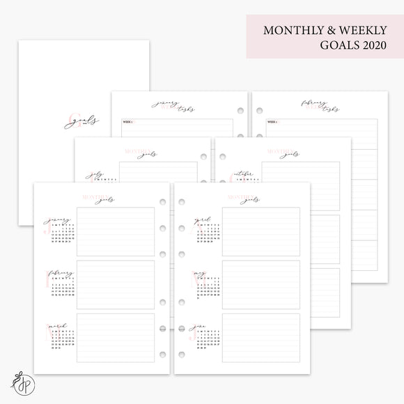 Monthly & Weekly Goals 2020 Pink - A5 Rings