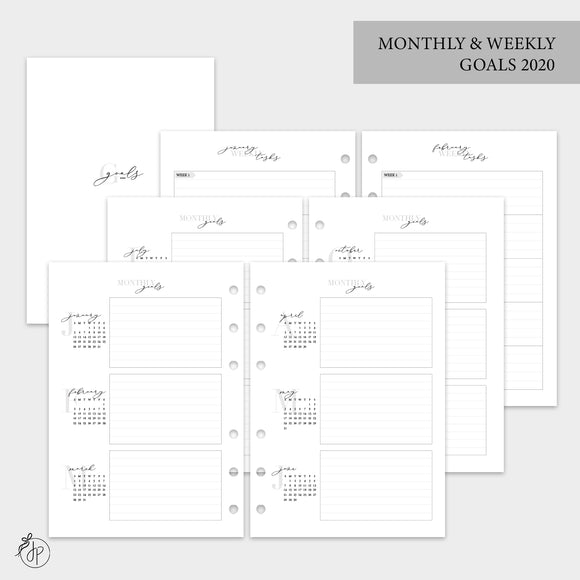 Monthly & Weekly Goals 2020 - A5 Rings
