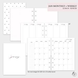 January Monthly + Weekly - A5 Rings