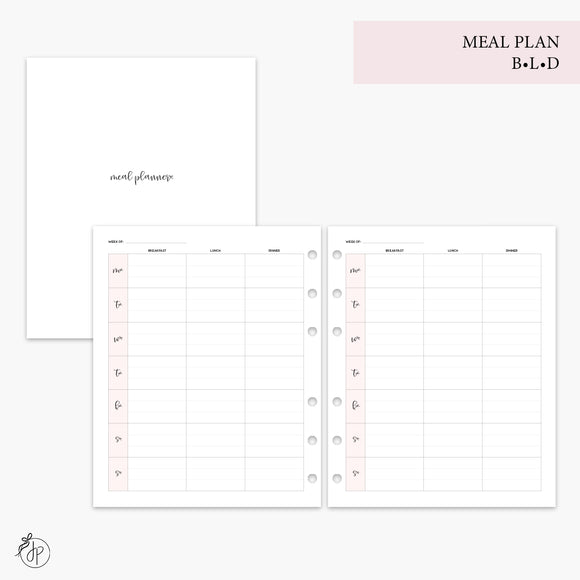 Meal Plan BLD Pink - A5 Wide Rings