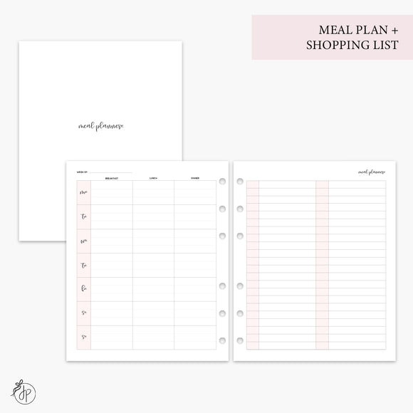Meal Plan + Shopping List Pink - A5 Wide Rings