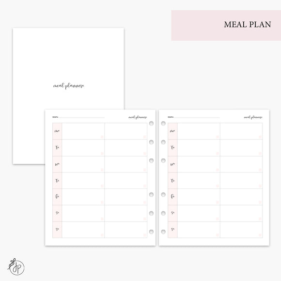 Meal Plan Pink - A5 Wide Rings