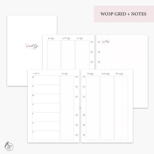 WO3P Grid + Notes Pink - A5 Rings