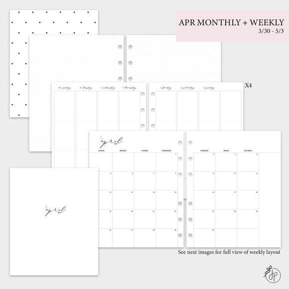 April Monthly + Weekly - A5 Wide Rings