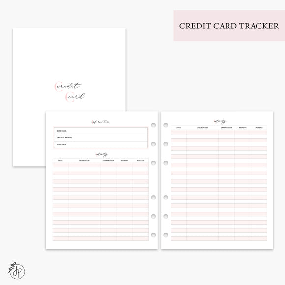 Credit Card Tracker Pink - A5 Wide Rings