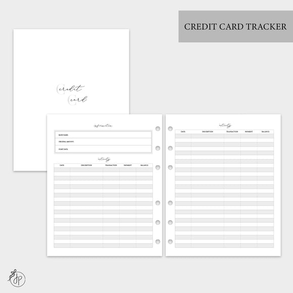 Credit Card Tracker - A5 Wide Rings