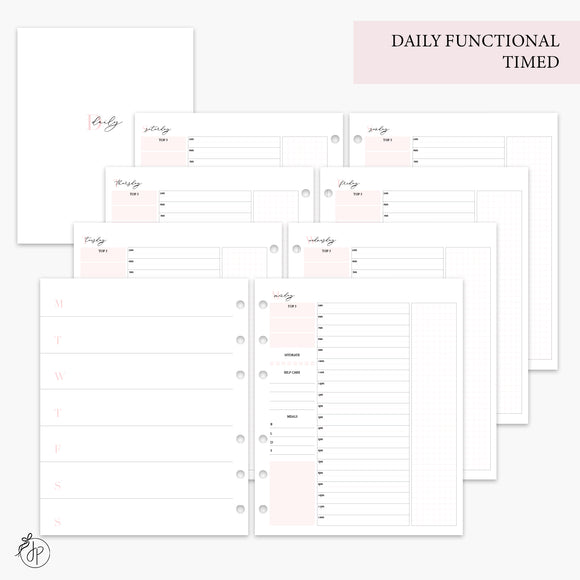 Daily Functional Timed Pink - A5 Wide Rings