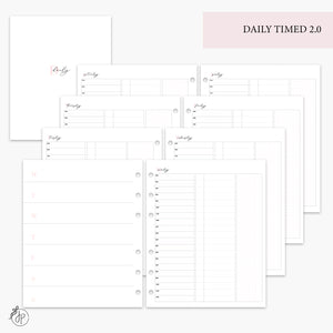 Daily Timed 2.0 Pink - A5 Wide Rings