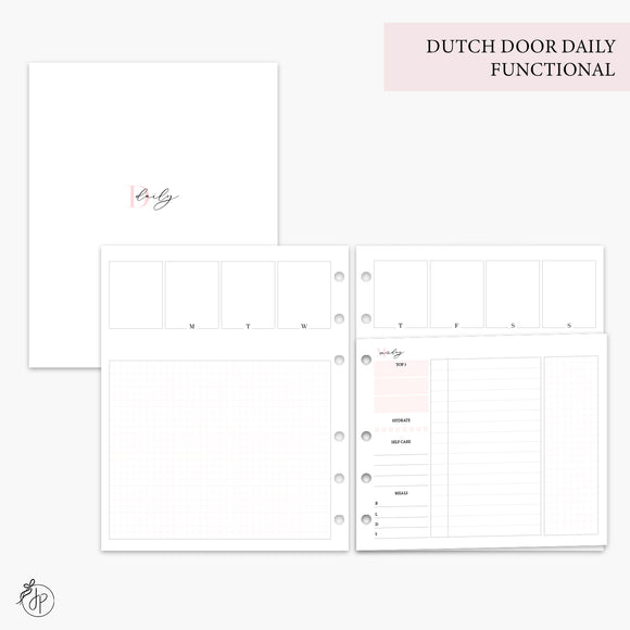 Dutch Door Daily Functional Pink - A5 Wide Rings