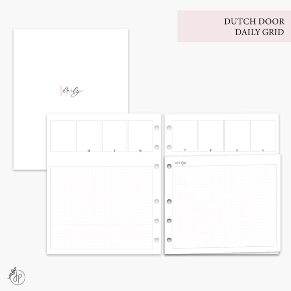 Dutch Door Daily Grid Pink - A5 Wide Rings