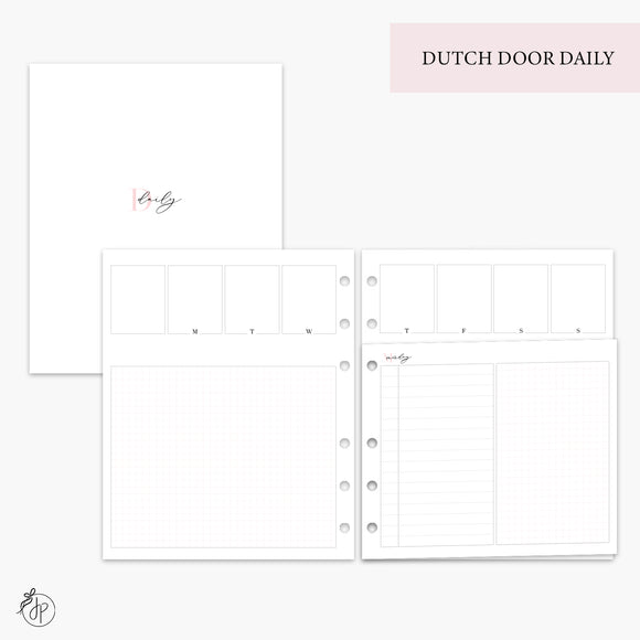 Dutch Door Daily Pink - A5 Wide Rings