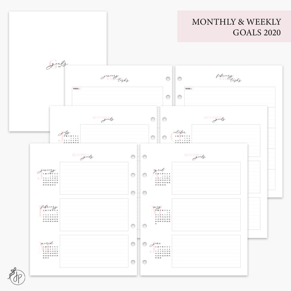 Monthly & Weekly Goals 2020 Pink - A5 Wide Rings