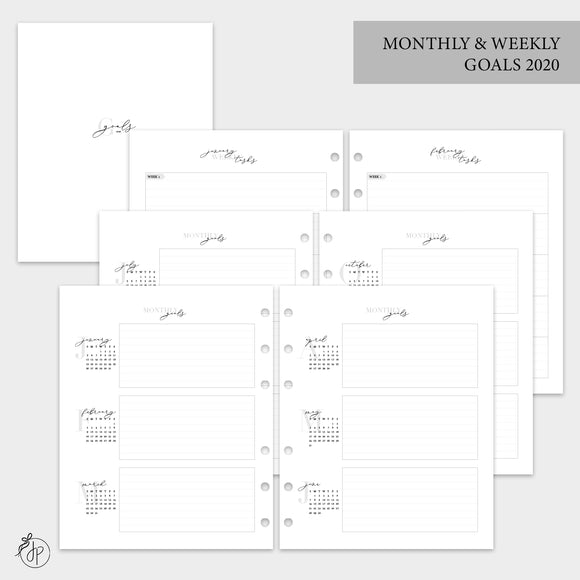 Monthly & Weekly Goals 2020 - A5 Wide Rings