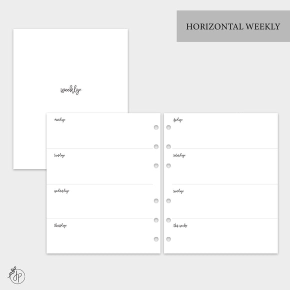 Bow Horizontal Weekly - A5 Wide Rings