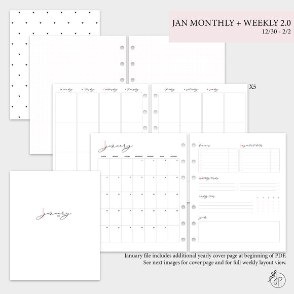 January Monthly + Weekly 2.0 - A5 Wide Rings