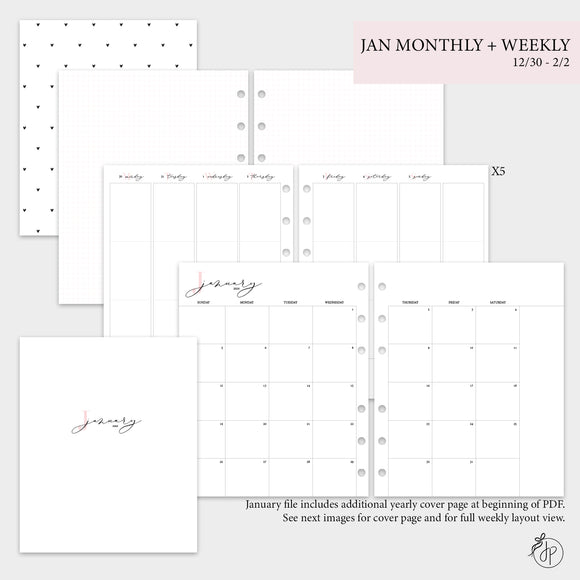 January Monthly + Weekly - A5 Wide Rings