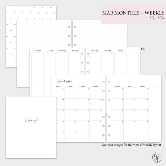 March Monthly + Weekly - A5 Wide Rings
