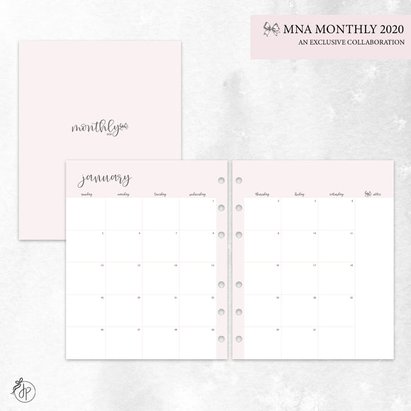 MNA Monthly 2020 Pink - A5 Wide Rings