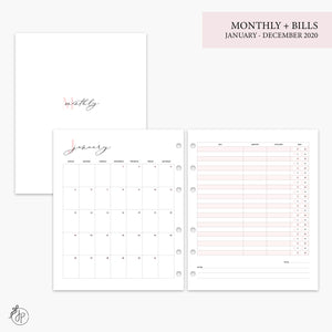Monthly + Bills 2020 Pink - A5 Wide Rings