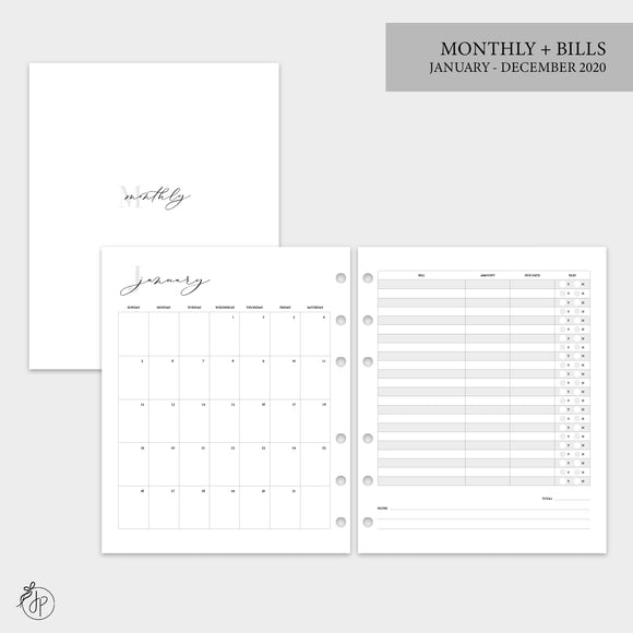 Monthly + Bills 2020 - A5 Wide Rings