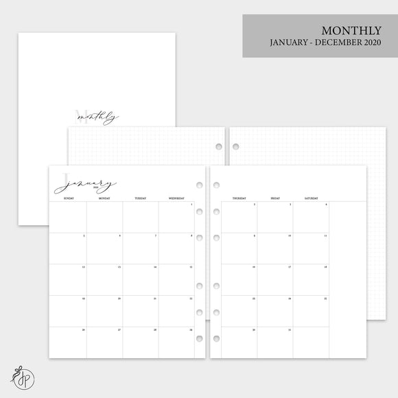 Monthly + Grid 2020 - A5 Wide Rings