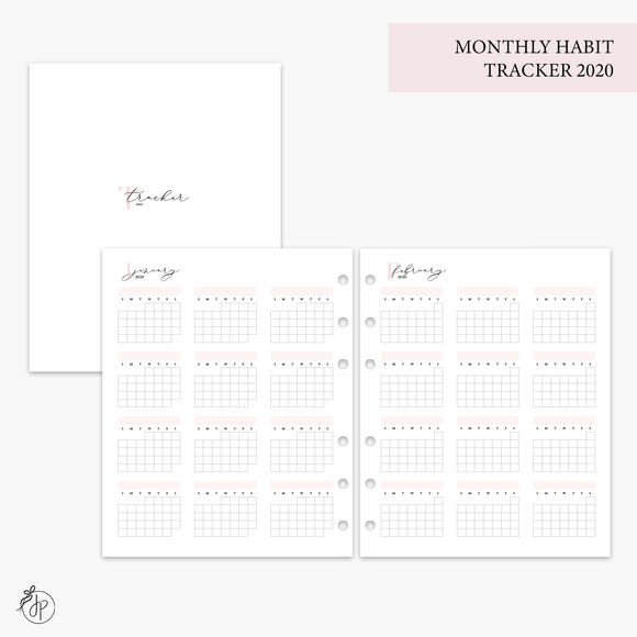 Monthly Habit Tracker 2020 Pink - A5 Wide Rings