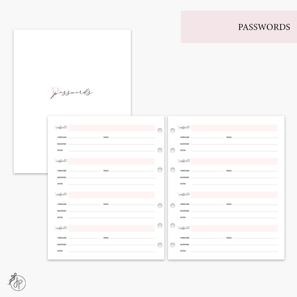 Passwords Pink - A5 Wide Rings