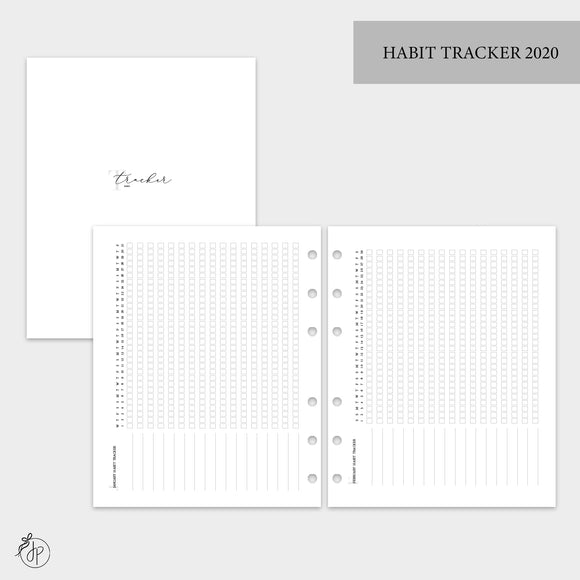 Habit Tracker 2020 - A5 Wide Rings