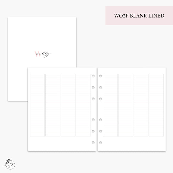 WO2P Blank Lined Pink - A5 Wide Rings
