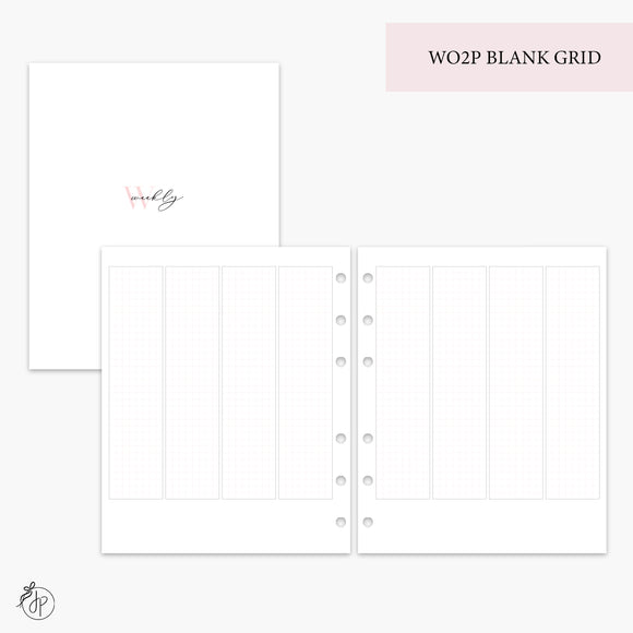 WO2P Blank Grid Pink - A5 Wide Rings