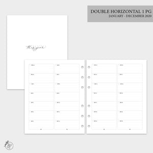 Double Horizontal on 1 Page 2020 - A5 Wide Rings