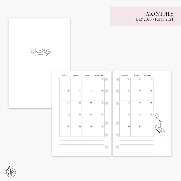 Monthly 20/21 Pink - A6 Rings