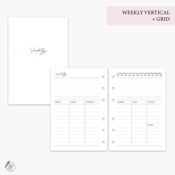 Weekly Vertical + Grid Pink - A6 Rings