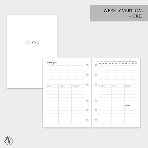 Weekly Vertical + Grid - A6 Rings