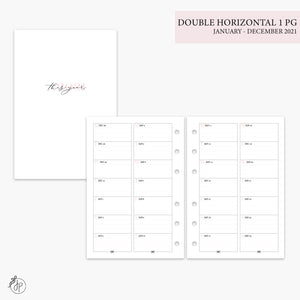 Double Horizontal on 1 Page 2021 Pink - A6 Rings