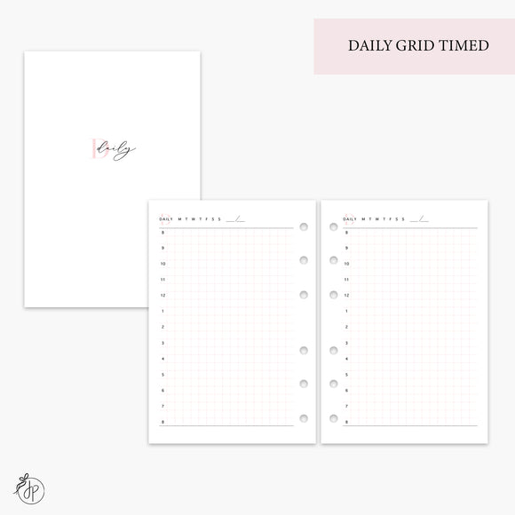 Daily Grid Timed Pink - A6 Rings