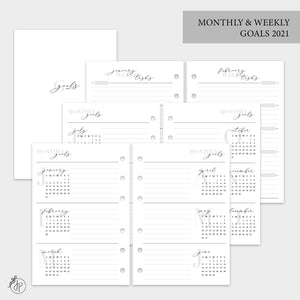Monthly & Weekly Goals 2021 - A6 Rings