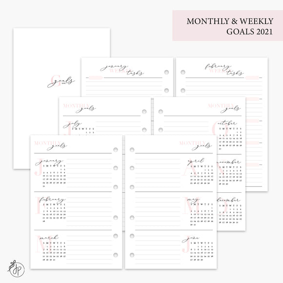Monthly & Weekly Goals 2021 Pink - A6 Rings