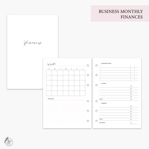 Business Monthly Finances Pink - A6 Rings