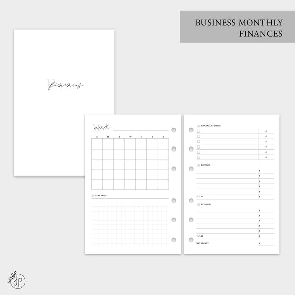 Business Monthly Finances - A6 Rings