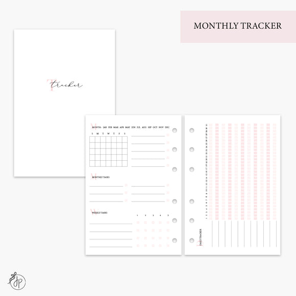 Monthly Tracker Pink - A6 Rings