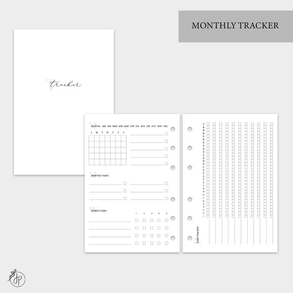 Monthly Tracker - A6 Rings