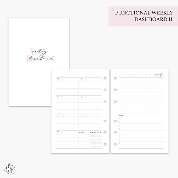 Functional Weekly Dashboard II Pink - A6 Rings