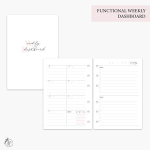 Functional Weekly Dashboard Pink - A6 Rings