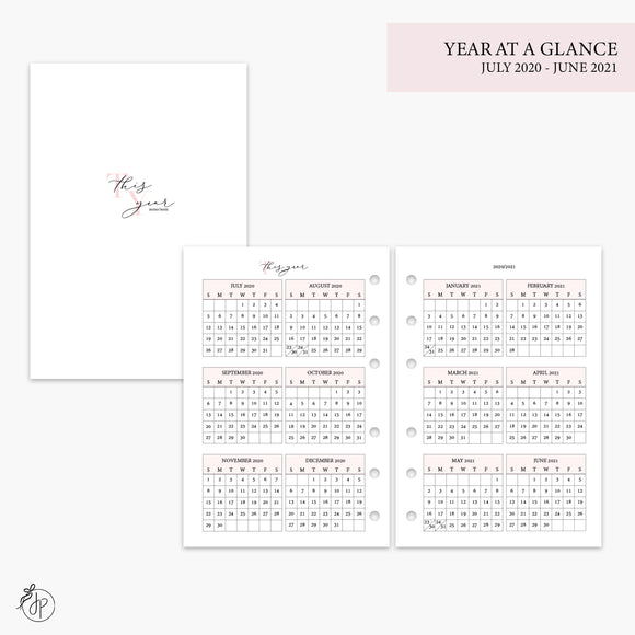 Year at a Glance 20/21 Pink - A6 Rings