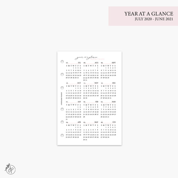 Year at a Glance 1 PG 20/21 Pink - A6 Rings
