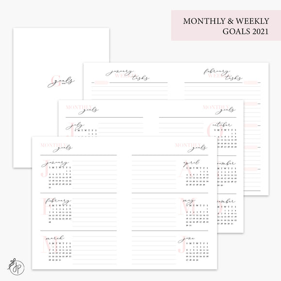 Monthly & Weekly Goals 2021 Pink - A6 TN